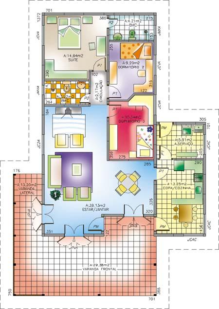 Planta de casa 3 quartos modelo 5