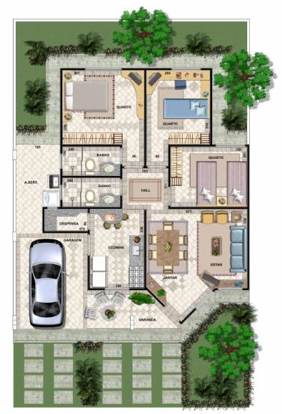 Planta de casa 3 quartos modelo 7