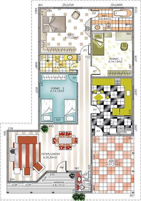 Plantas de Casas de 3 quartos modelo 01