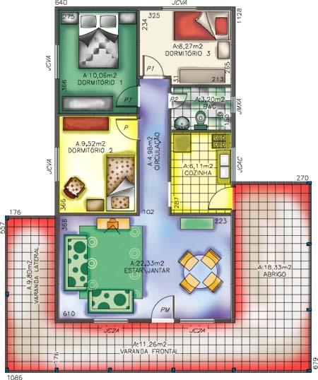 Plantas de casas de 3 quartos modelo 2