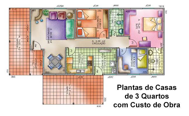 Plantas de Casas de 3 quartos com Custo de obra +10 Modelos