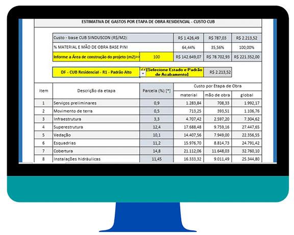 Planilha de Orçamento Grátis com Etapas da Obra