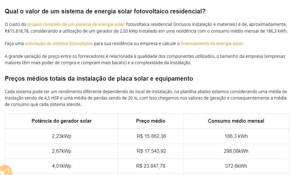 Quanto custa energia solar para uma residência