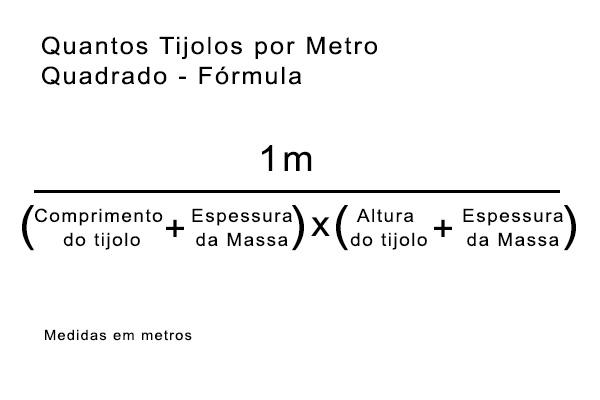 formula calculo quantidade de tijolos