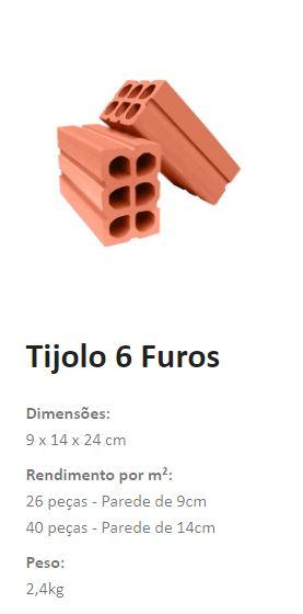 tijolo 6 furos 9x14x24